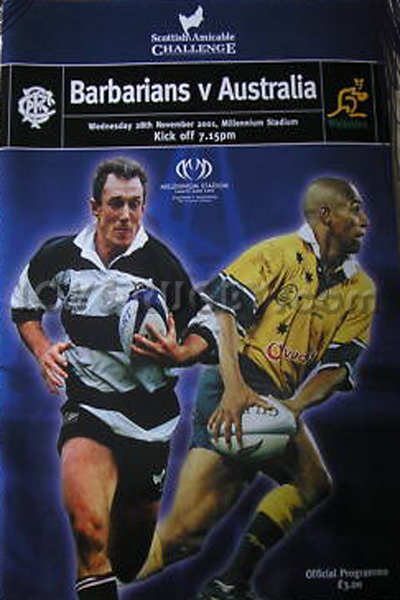 2001 Barbarians v Australia  Rugby Programme
