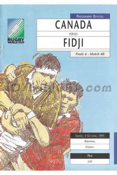 1991 Canada v Fiji  Rugby Programme