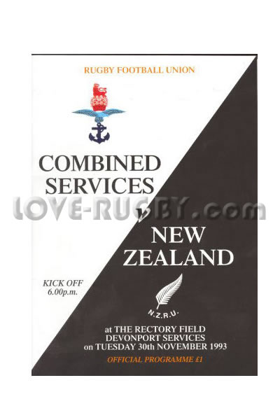 1993 Combined Services v New Zealand  Rugby Programme