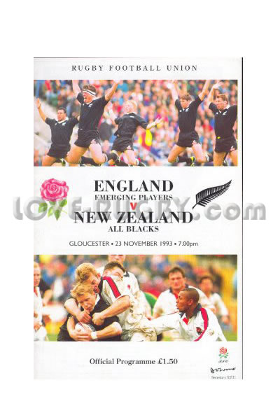 1993 England Emerging v New Zealand  Rugby Programme