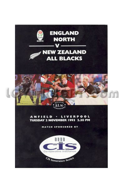 1993 England North v New Zealand  Rugby Programme