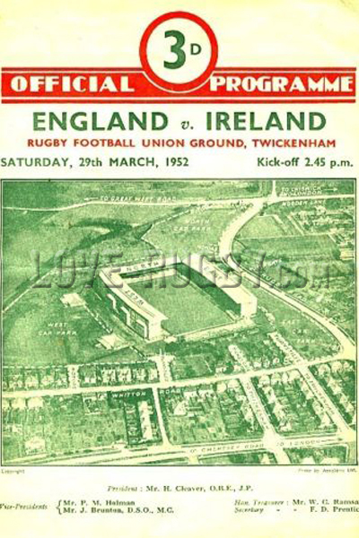 1952 England v Ireland  Rugby Programme