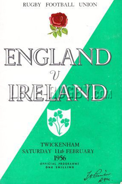 1956 England v Ireland  Rugby Programme