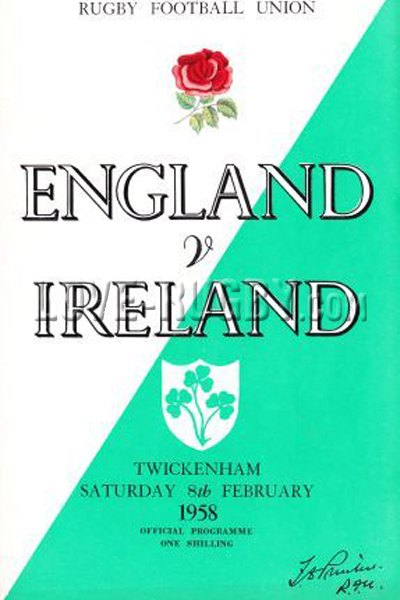 1958 England v Ireland  Rugby Programme