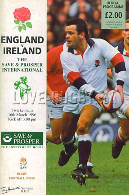 1996 England v Ireland  Rugby Programme