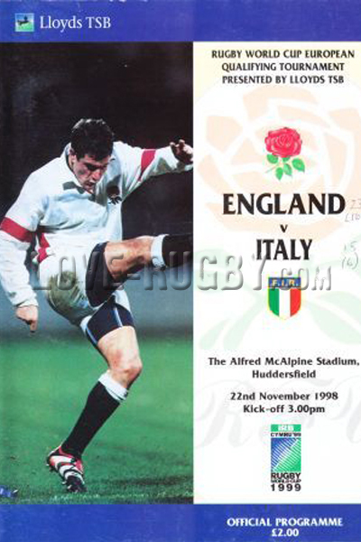 1998 England v Italy  Rugby Programme