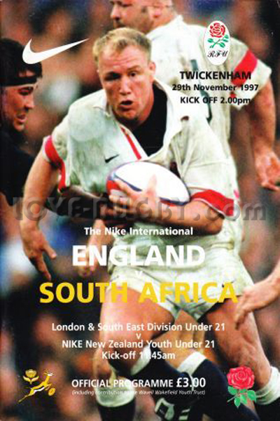1997 England v South Africa  Rugby Programme