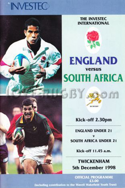 1998 England v South Africa  Rugby Programme