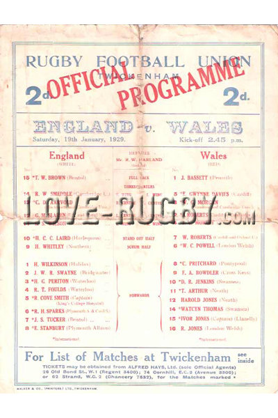 1929 England v Wales  Rugby Programme