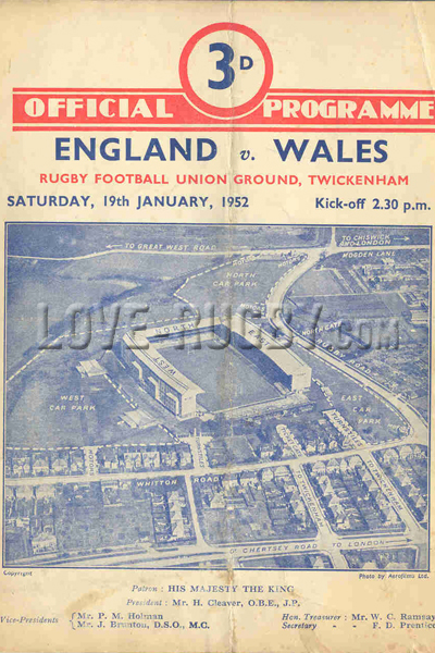 1952 England v Wales  Rugby Programme
