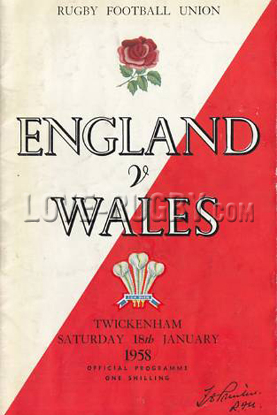 1958 England v Wales  Rugby Programme