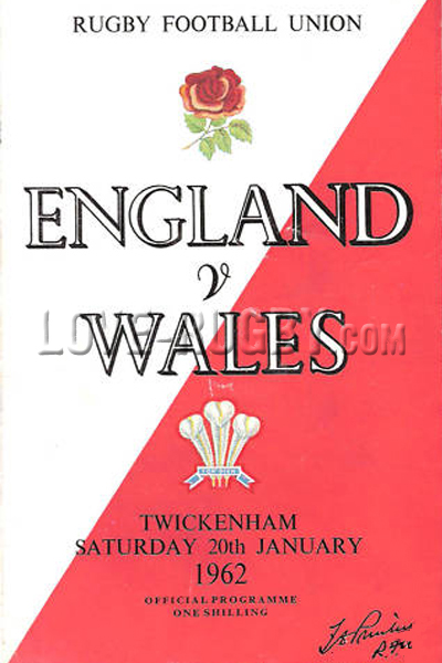1962 England v Wales  Rugby Programme