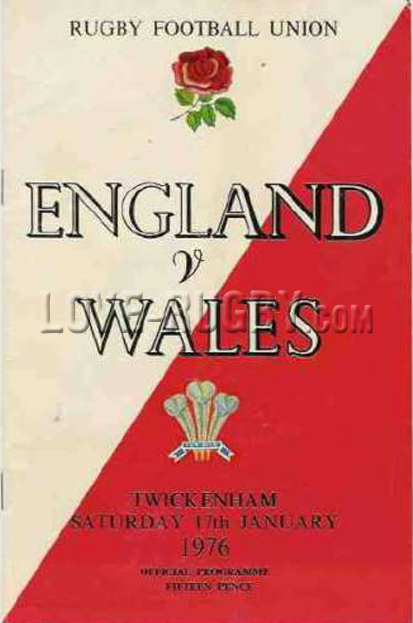 1976 England v Wales  Rugby Programme