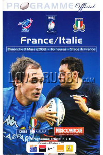 2008 France v Italy  Rugby Programme