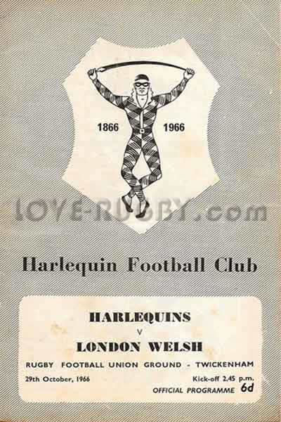 1966 Harlequins v London Welsh  Rugby Programme