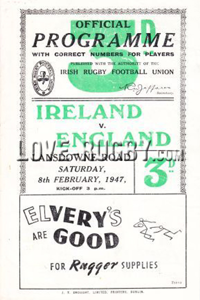 1947 Ireland v England  Rugby Programme