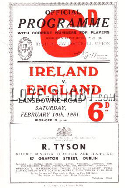 1951 Ireland v England  Rugby Programme