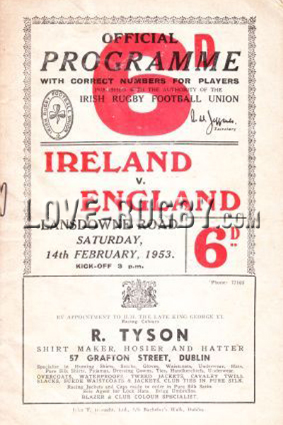 1953 Ireland v England  Rugby Programme