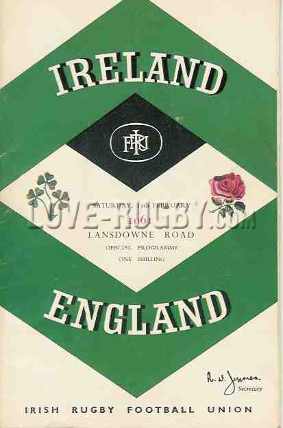 1961 Ireland v England  Rugby Programme