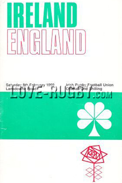 1969 Ireland v England  Rugby Programme