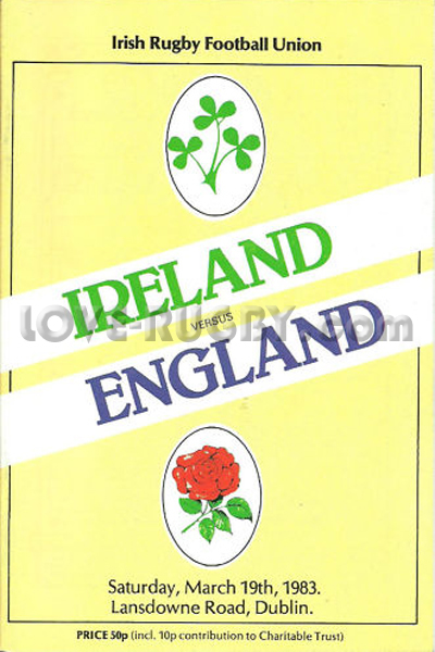 1983 Ireland v England  Rugby Programme