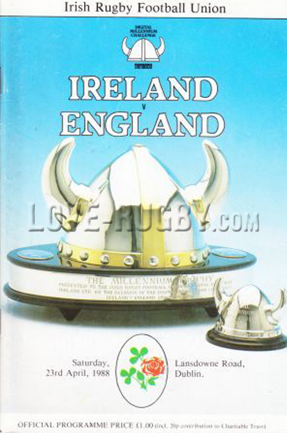 1988 Ireland v England  Rugby Programme