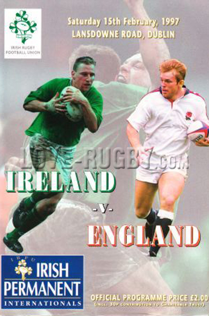 1997 Ireland v England  Rugby Programme