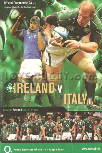 2007 Ireland v Italy  Rugby Programme