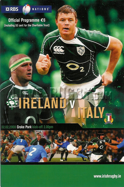 2008 Ireland v Italy  Rugby Programme