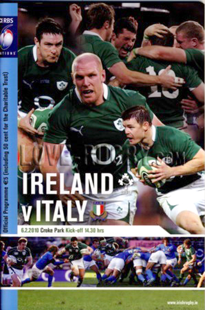 2010 Ireland v Italy  Rugby Programme