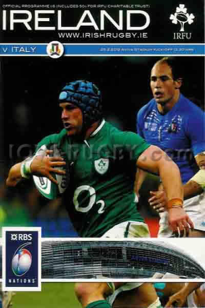 2012 Ireland v Italy  Rugby Programme