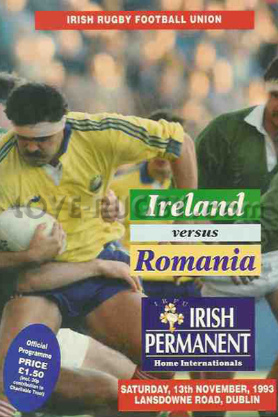 1993 Ireland v Romania  Rugby Programme