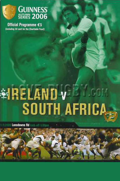 2006 Ireland v South Africa  Rugby Programme