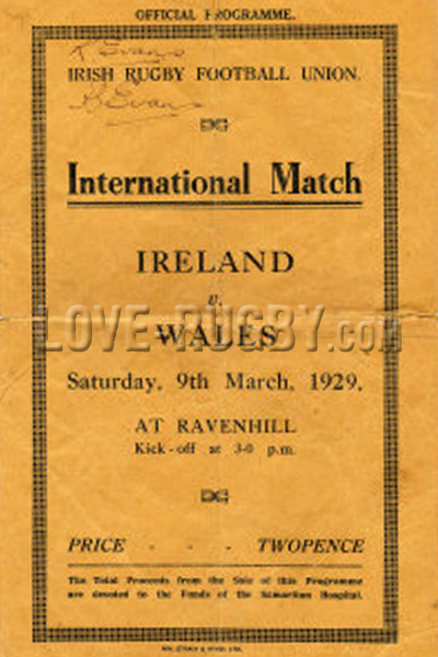 1929 Ireland v Wales  Rugby Programme