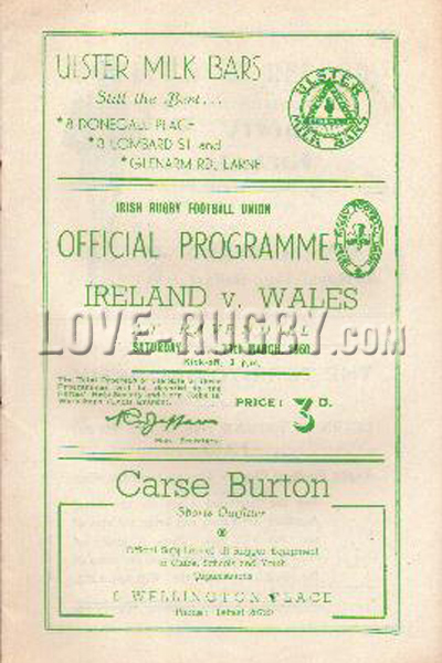 1950 Ireland v Wales  Rugby Programme
