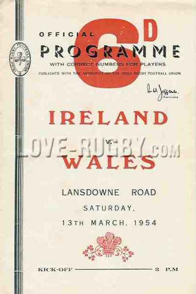 1954 Ireland v Wales  Rugby Programme