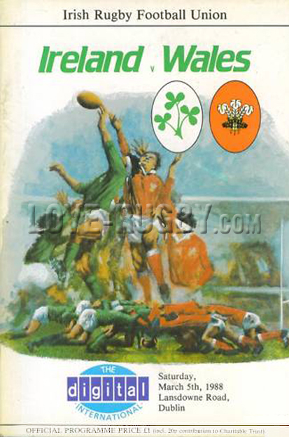 1988 Ireland v Wales  Rugby Programme
