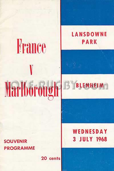 1968 Marlborough v France  Rugby Programme