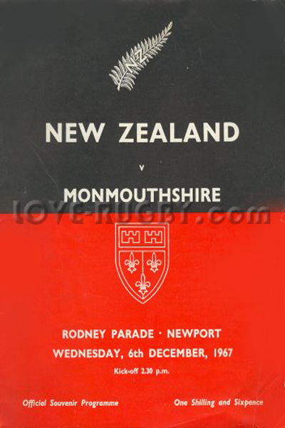 1967 Monmouthshire v New Zealand  Rugby Programme