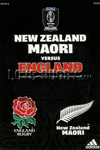 2010 New Zealand Maori v England  Rugby Programme