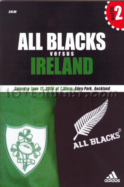 2006 New Zealand v Ireland  Rugby Programme