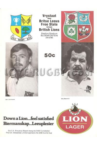 1980 Orange Free State v British Lions  Rugby Programme