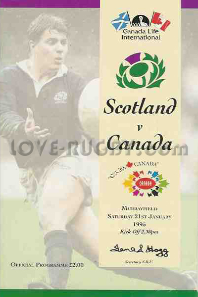 1995 Scotland v Canada  Rugby Programme