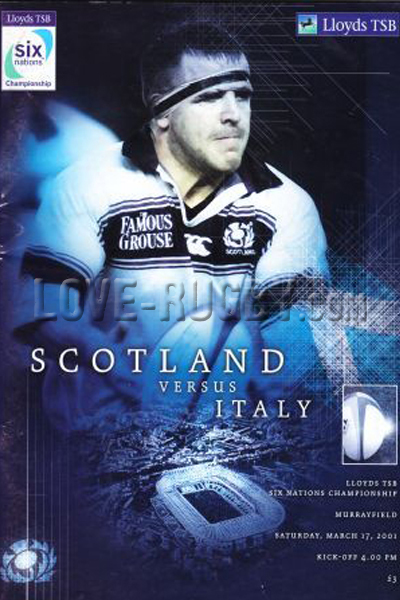 2001 Scotland v Italy  Rugby Programme