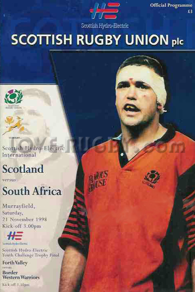 1998 Scotland v South Africa  Rugby Programme