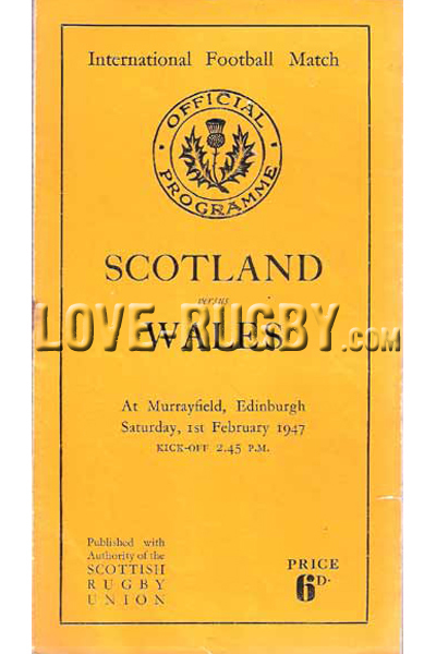1947 Scotland v Wales  Rugby Programme