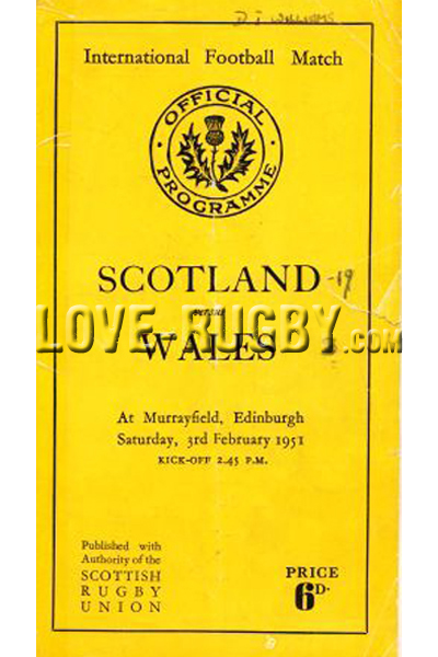 1951 Scotland v Wales  Rugby Programme