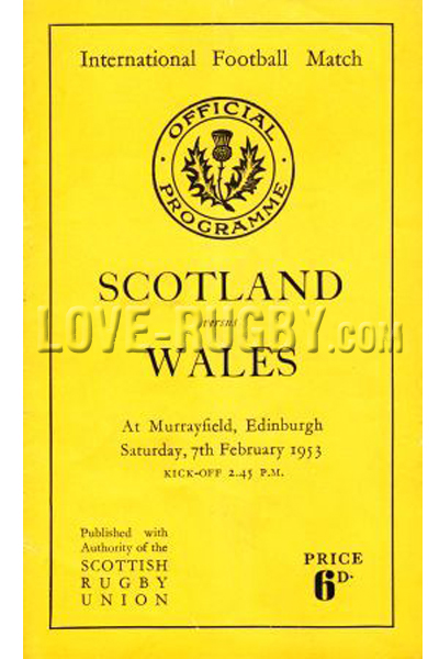 1953 Scotland v Wales  Rugby Programme