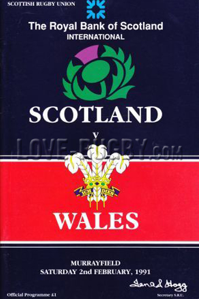 1991 Scotland v Wales  Rugby Programme