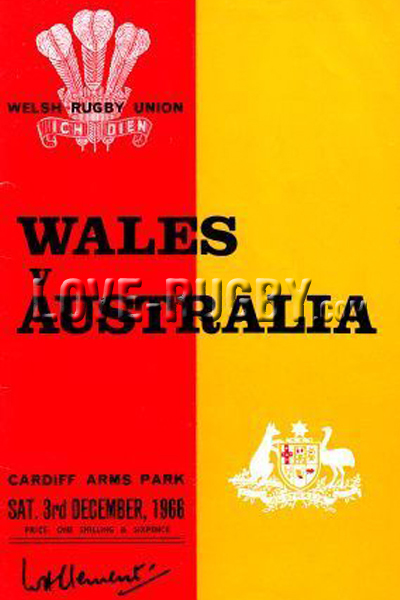 1966 Wales v Australia  Rugby Programme